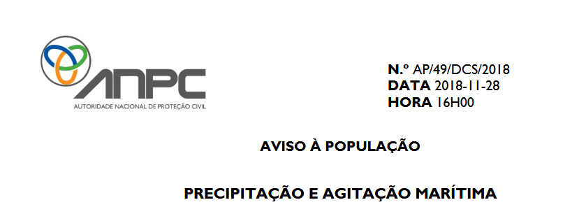 Aviso à População PROCIV CIM Região de Coimbra