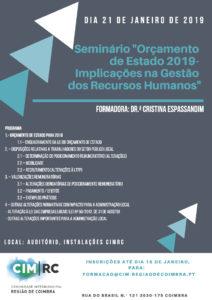 """seminário """"Orçamento de Estado de 2019-Implicações na Gestão dos Recursos Humanos """""""