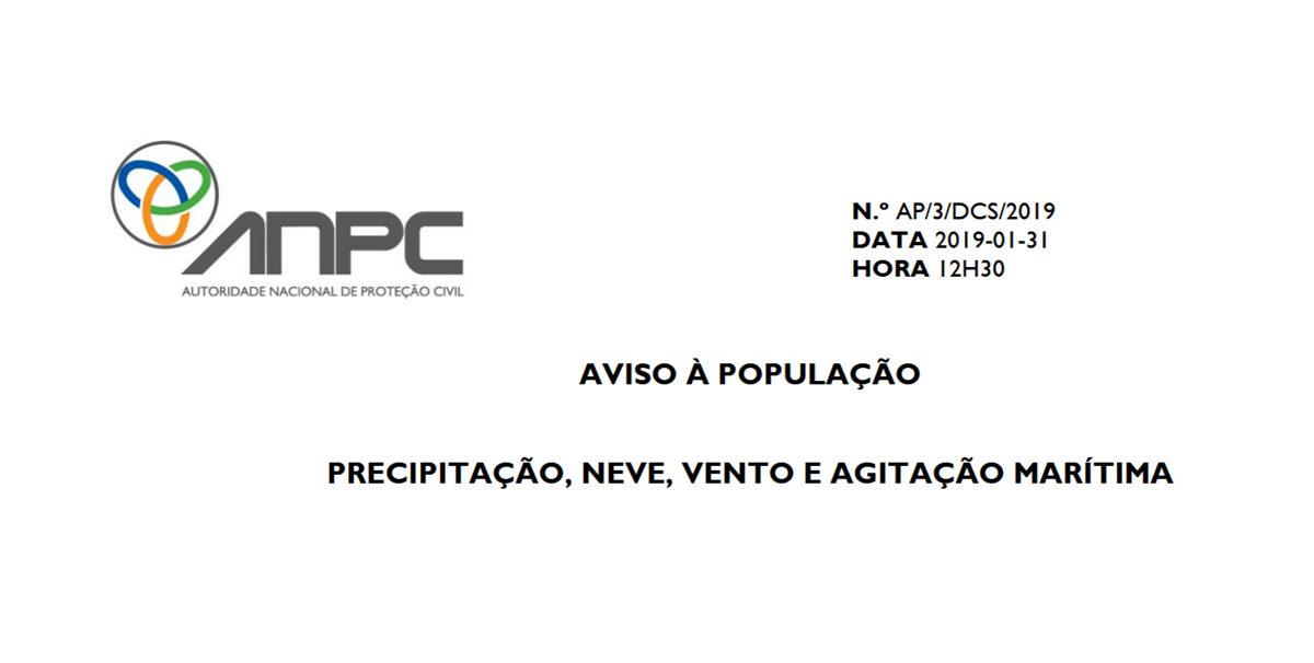 AVISO À POPULAÇÂO ANPC